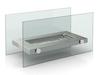Design Tischkamin für Bio-Ethanol, Glaskamin ca. 34cm, Edelstahl-Design