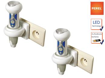 2er Set wiederaufladbare LED Taschenlampen mit Nachtlicht und SOS Funktion