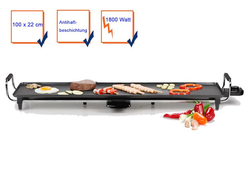 Teppanyaki Grillplatte XXXL 100x22cm Japanischer Elektro Tischgrill Indoor Tepan