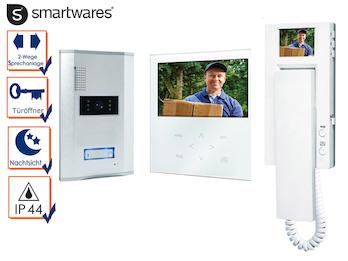 Video Türsprechanlage weiß, 2 Inneneinheiten mit Touchscreen und Monitor