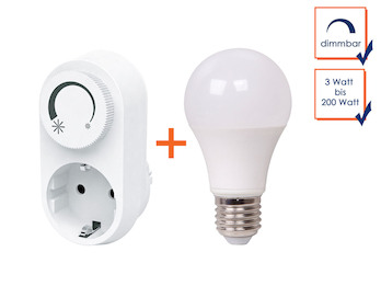 LED Steckdosendimmer / Dimmer-Adapter + LED-Leuchtmittel E27 dimmbar 10 Watt