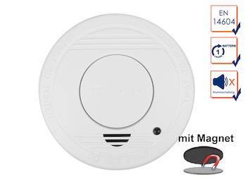 Rauchmelder mit 1 Jahres Batterie - Stummschaltfunktion + Magnethalter