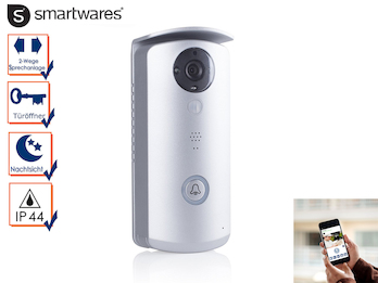 WiFi Türklingel mit HD-Kamera zur Übertragung auf Smartphone, 2-Wege Audio