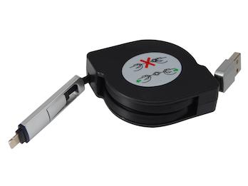 Ausziehbares Micro USB Flach Ladekabel schwarz- Datenkabel alle Marken + Iphone