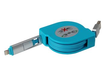 Ausziehbares Micro USB Flach Ladekabel türkis - Datenkabel alle Marken + Iphone