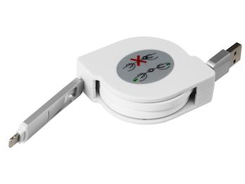 Ausziehbares Micro USB Flach Ladekabel weiß - Datenkabel alle Marken + Iphone