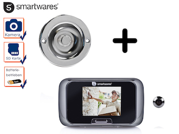 Set: Türklingel & Türspion mit Kamera und Bildschirm, Klingel Einfamilienhaus