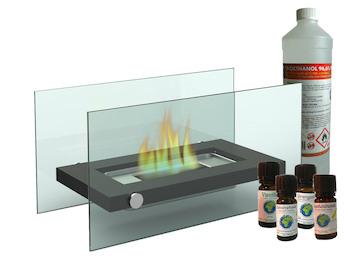 Design Tischkamin + 1L Bio-Ethanol + 4x Duftöl, Tischfeuer für tolle Atmosphäre