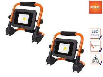 2er Set tragbare Baustrahler LED Fluter Arbeitsscheinwerfer 20W, klappbar