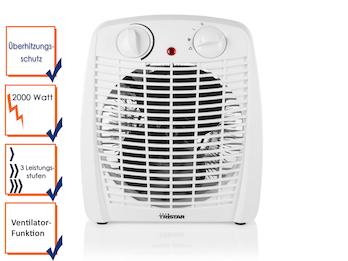 Elektroheizung mit Ventilator-Funktion 3 Leistungsstufen Kontrolllämpchen