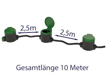 Garten Verlängerungskabel 10 Meter mit 3 Steckdosen Stromverteiler