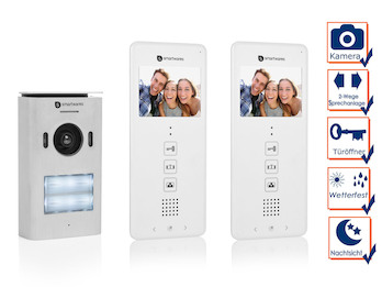 2 Familienhaus Türsprechanlage mit Kamera, Gegensprechanlage 2Wege Kommunikation