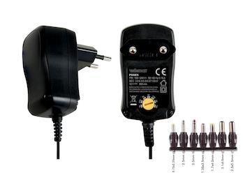 Schaltnetzteil mit 7 wechselb. Ausgängen, 5-12VDC 600mA / 7W Netzadapter