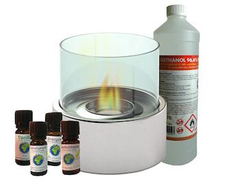 Edler Tischkamin Ø 16 cm + 1L Bio-Ethanol + 4x Duftöl, Tischfeuer