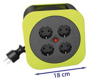 Handliche Kabelbox Kabeltrommel grün, 10 Meter, Überhitzungsschutz