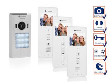 3 Familienhaus Türsprechanlage mit Kamera, Gegensprechanlage 2Wege Kommunikation
