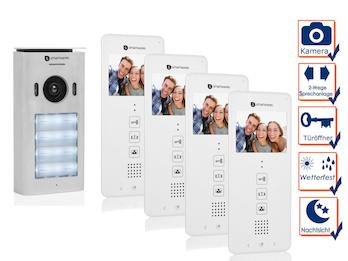 4 Familienhaus Türsprechanlage mit Kamera, Gegensprechanlage 2Wege Kommunikation