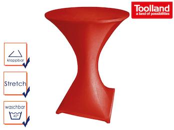 Stabiler Stehtisch /Klapptisch als Komplettset mit roter Stretch Husse