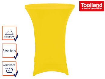 Stabiler Stehtisch /Klapptisch als Komplettset mit gelber Stretch Husse