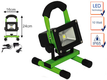 Tragbarer Baustrahler LED Fluter Arbeitsleuchte mit Akku, 10W 700lm Kaltweiß