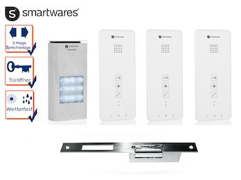 Set: Dreiparteien Türsprechanlage mit elektrischem Öffner für weitöffnende Türen