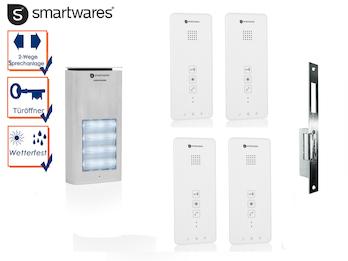 Set: Vierparteien Türsprechanlage mit elektrischem Öffner für weitöffnende Türen