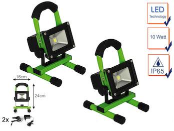 2er Set Tragbarer Baustrahler LED Arbeitsleuchte mit Akku, 10W 700lm Kaltweiß