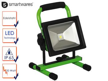Tragbarer Baustrahler LED Fluter Arbeitsleuchte mit Akku, 20W 1300lm Kaltweiß