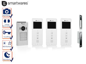 Set: Dreiparteien Videosprechanlage + elektrischer Öffner für weitöffnende Türen
