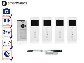 Set: Vierparteien Videosprechanlage + elektrischer Öffner für weitöffnende Türen