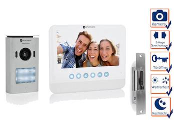Set: Einparteien Türsprechanlage mit Kamera, 7 Zoll LCD Bildschirm und Türöffner