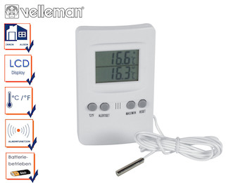 Einfaches Digitalthermometer mit Außenfühler, Thermometer Innen / Außen