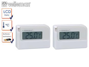 2er Blister Mini Digitalthermometer mit Klebestreifen, Raumthermometer