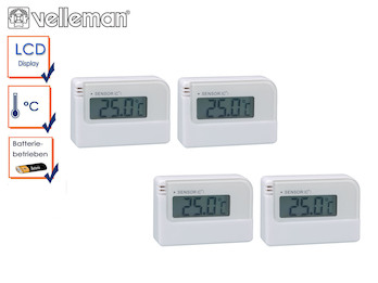 4-Raum Messsystem Mini Digitalthermometer mit Klebestreifen, außen innen
