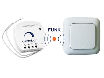 SmartHome Funk Schalter Set = Mini Funk-Einbaudimmer + Funk-Wandschalter