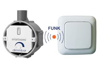SmartHome Funk Schalter Set = Funk-Einbaudimmer + Funk-Wandschalter max. 200W