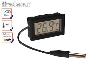 Digitales Einbauthermometer mit Temperaturfühler, Thermometer Innen / Außen