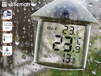 Innen und Außenthermometer zur Befestigung am Fenster, Min-Max-Funktion