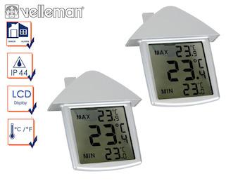 Kombi-Pack Innen und Außenthermometer, Fensterthermometer mit Min-Max-Funktion