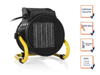 Elektroheizung (Keramik) mit Ventilator-Funktion 2000 Watt Überhitzungsschutz