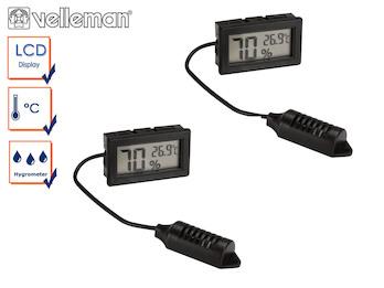 2er Set digital Einbau Hygrometer und Thermometer, Luftfeuchtigkeit + Temperatur