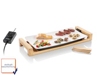 Tischgrill mit hochwertiger Grillplatte 50 x 25 cm und Bambusrahmen