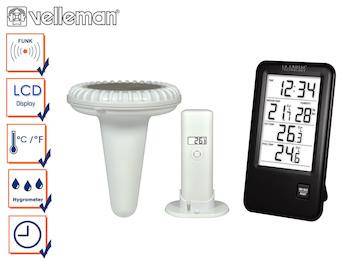 Pool Thermometer mit Uhrzeit, Innentemperatur, Außentemperatur & Hygrometer
