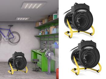 2er Set Elektroheizung Ventilator-Funktion 1500-3000 Watt Spritzwassergeschützt