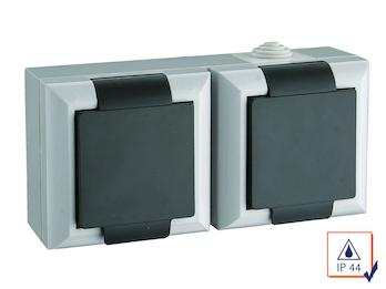2-fach Schutzkontaktsteckdose mit Deckel Feuchtraum + Außen, 2-polig