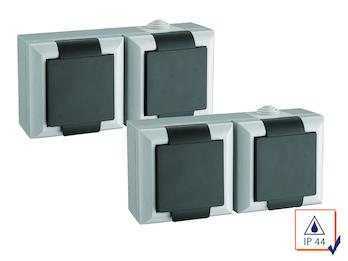 2er-Set 2fach Schutzkontaktsteckdosen IP44 Feuchtraum + Außen, 2-Polig
