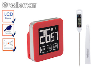 Küchen-Set: Digitales Küchenthermometer / Bratenthermometer + Timer mit Alarm