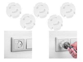 Steckdoseneinsätze 5er-Set gegen Stromschlag; Kindersicherung