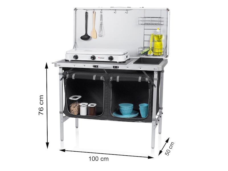 Mobile CAMPING KÜCHE faltbar mit Spüle OUTDOOR Campingküche Küchenschrank Block