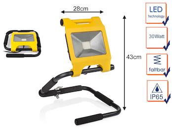 Klappbarer 30 Watt LED Baustrahler schwarz / gelb, IP65 Arbeitsleuchte